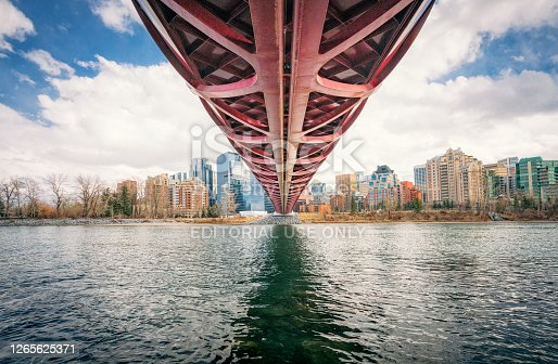 Calgary, Canada - A view from below the dramatic Peace Bridge, a footbridge crossing the Bow River in Calgary.