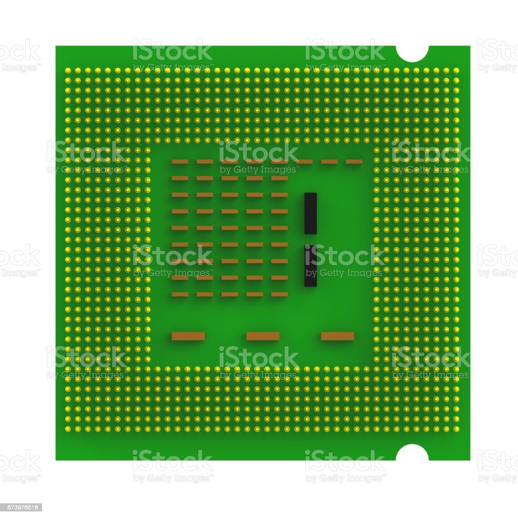 Below view of CPU (Central processing unit) microchip isolated on white background, 3D rendering royalty-free stock photo