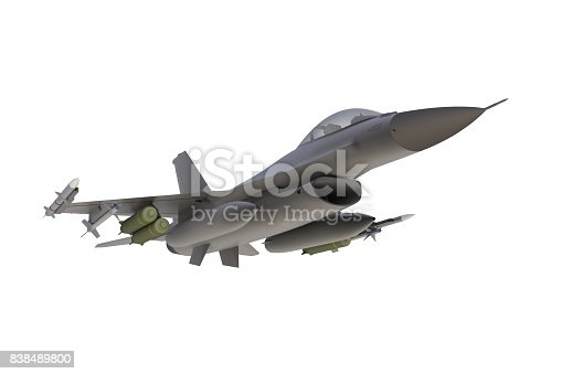 104268934 istock photo Below view of F16, american military fighter plane on white background, 3D rendering 838489800