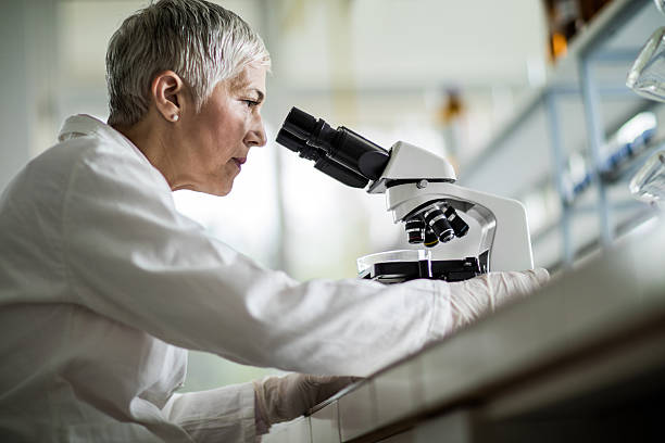 below view of female scientist looking through a microscope. - microscope stock photos and pictures