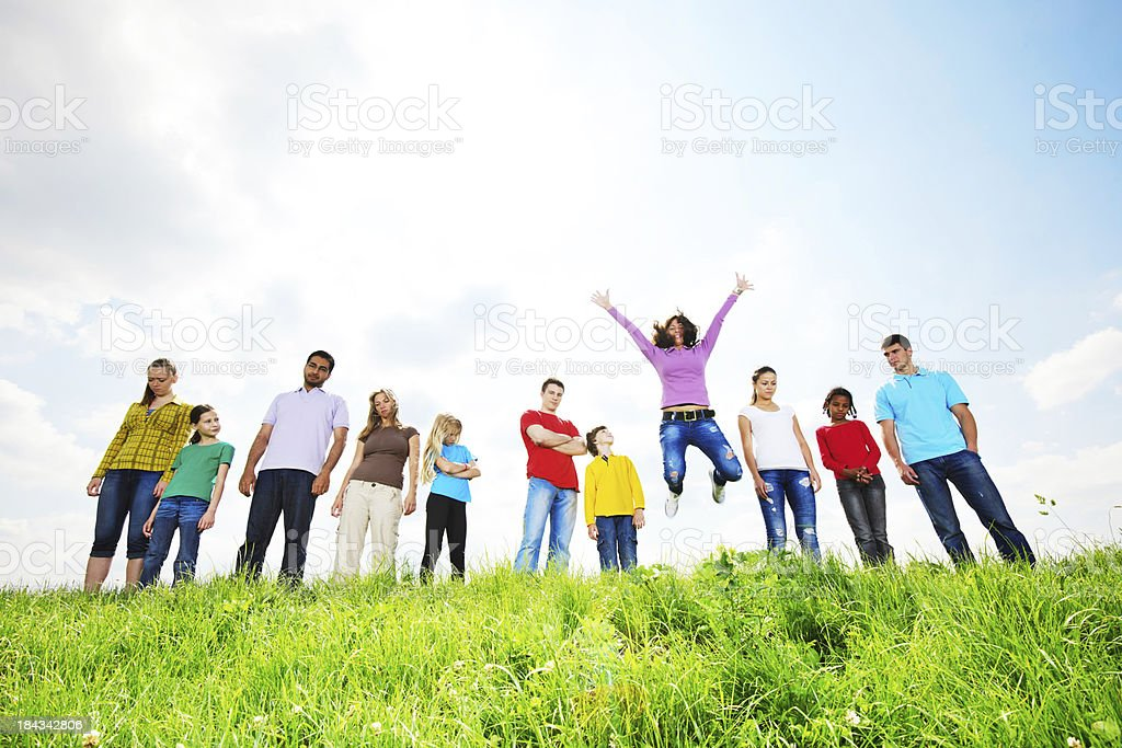 Below view of large group standing in a line. royalty-free stock photo