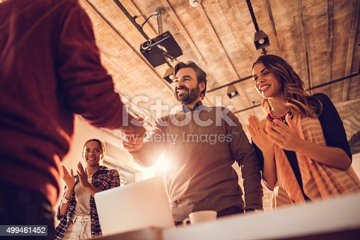 istock Below view of successful job interview in the office. 499461452