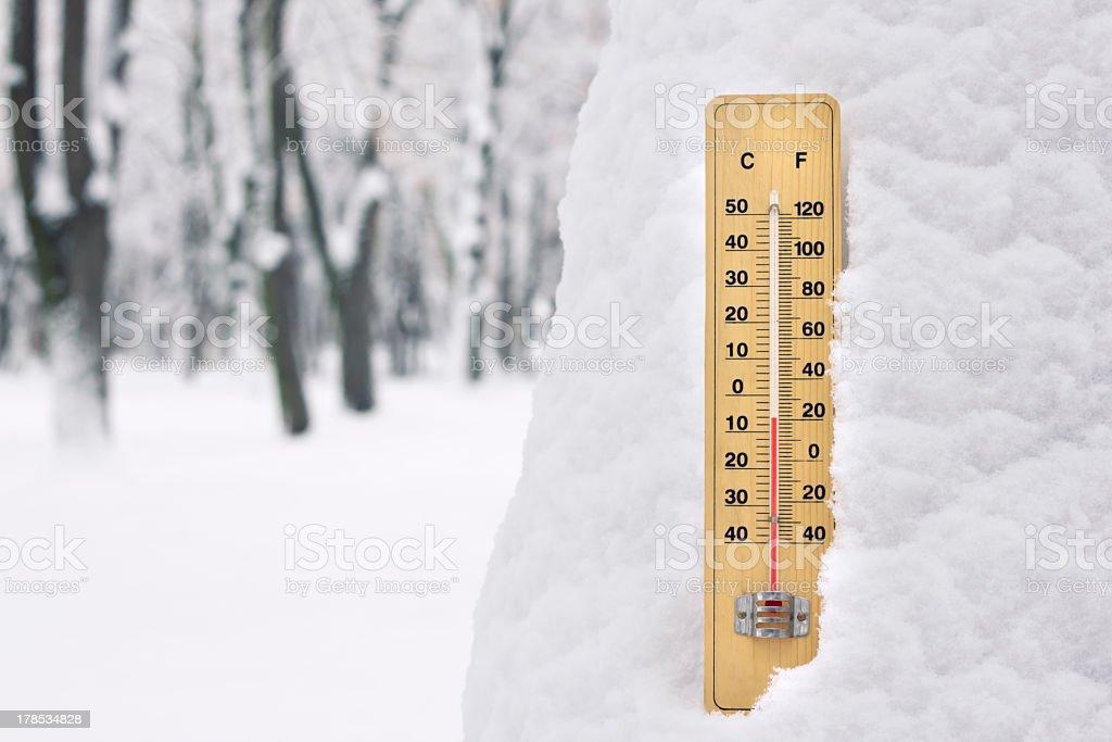 below zero cold temperature in snow shown on mercury thermometer stock photo