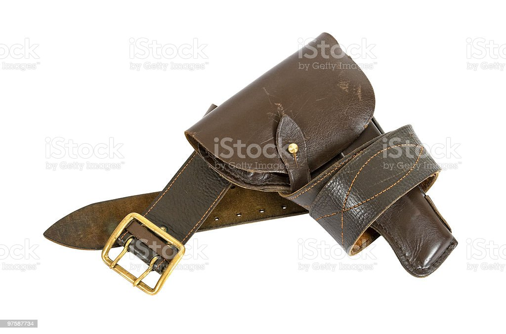 Belt and old holster royaltyfri bildbanksbilder