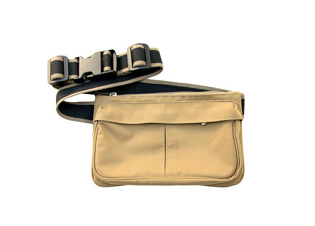 belt bag, waist pouch isolated on white background - waist bag stock photos and pictures