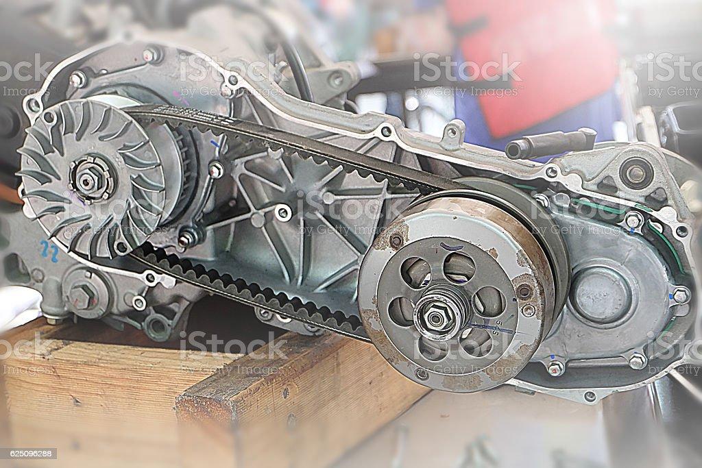 belt engine remove the engine assembly kit motorcycle. stock photo