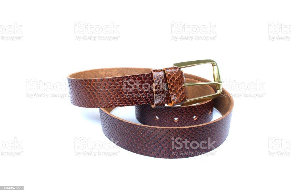 belt leather snake on isolated stock photo