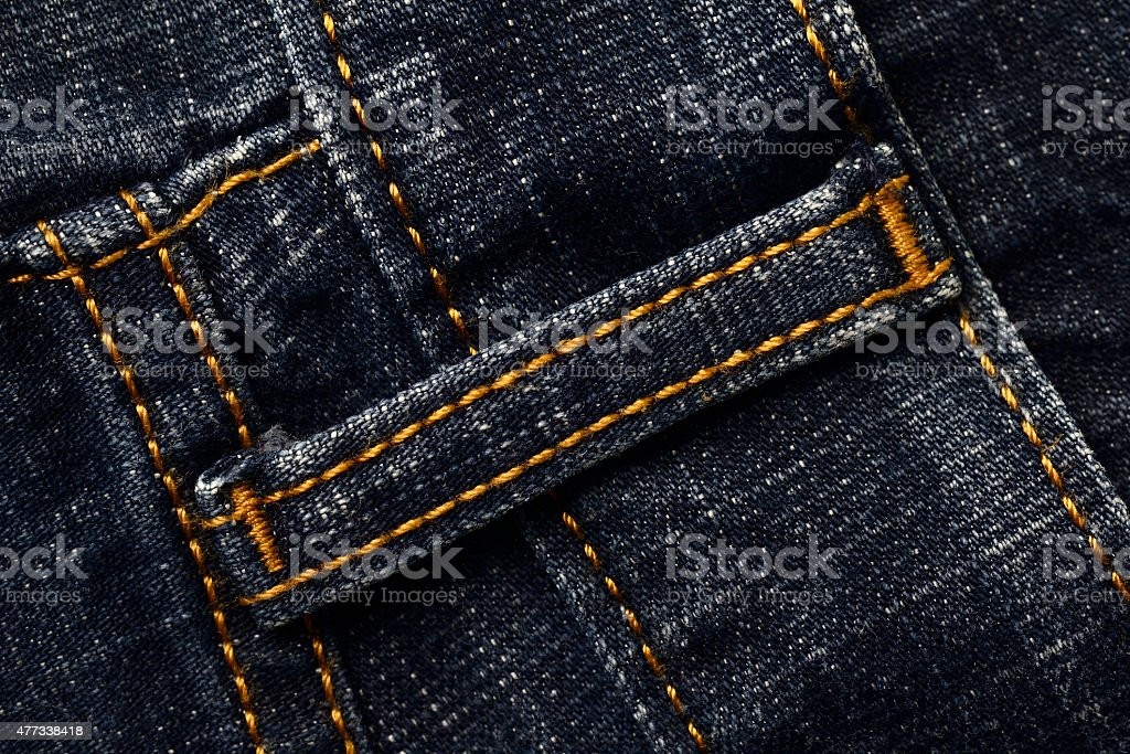 Belt Loop Of A Blue Jeans stock photo