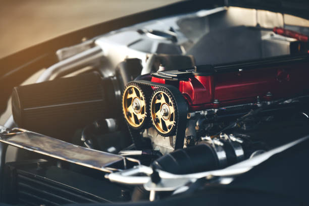 Belt motors are an essential component of a racing car. Belt motors are an essential component of a racing car. car show stock pictures, royalty-free photos & images