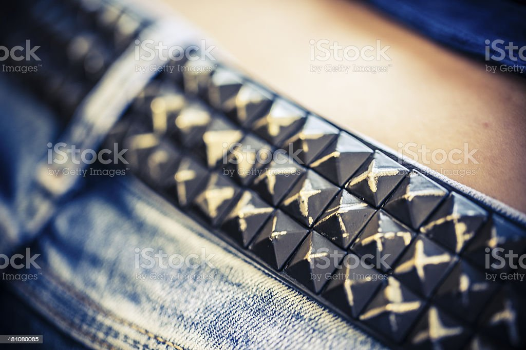 belt of metal studs or pyramid stock photo