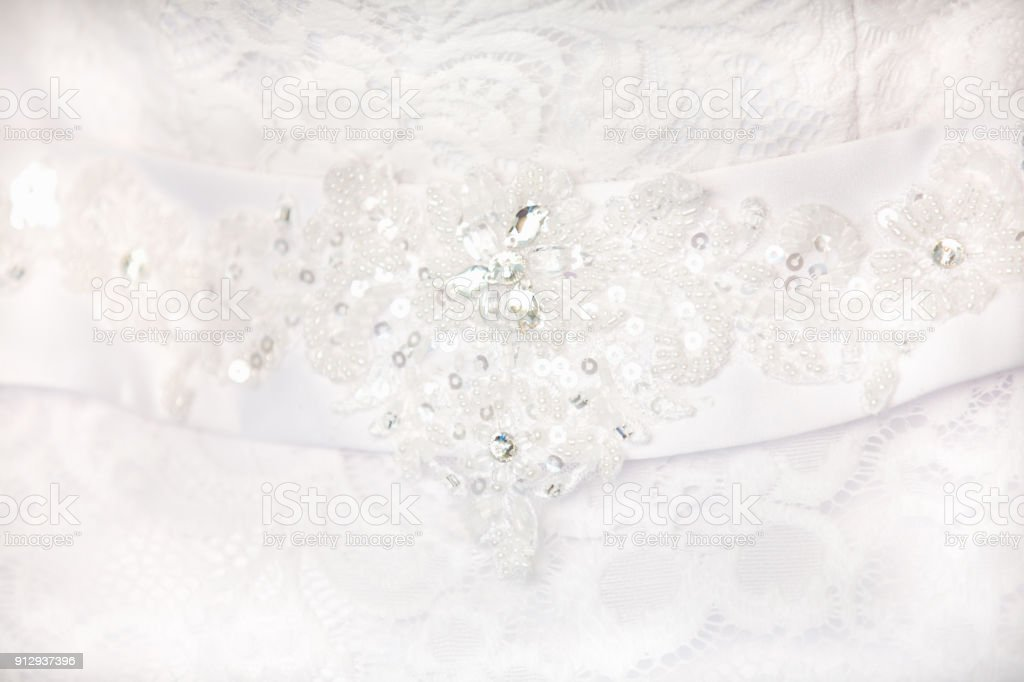 Belt on bride's dress stock photo