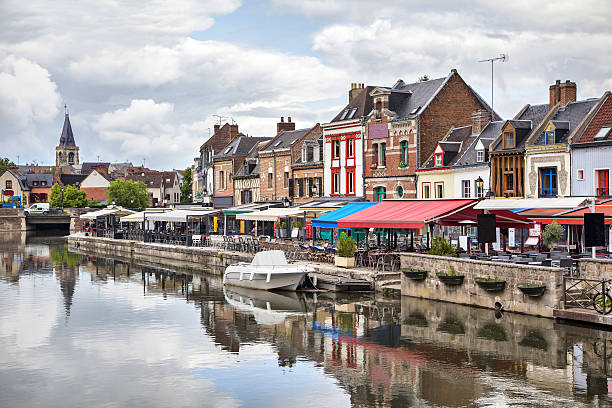 Belu embankment in Amiens, France Colorful summer verandas of restaurants on the Belu embankment in Amiens, France somme stock pictures, royalty-free photos & images