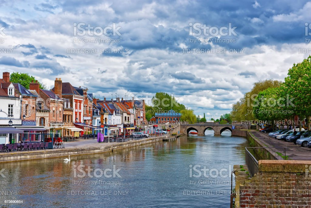 Belu Quay with traditional houses and Somme River in Amiens stock photo