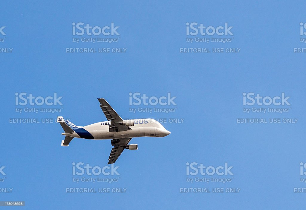 Beluga Supertransporter approaches the Airbus Plant in Hamburg stock photo