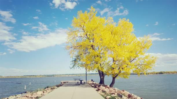 Belvédère du Cherry Creek Reservoir au Cherry Creek State Park en Automne stock photo
