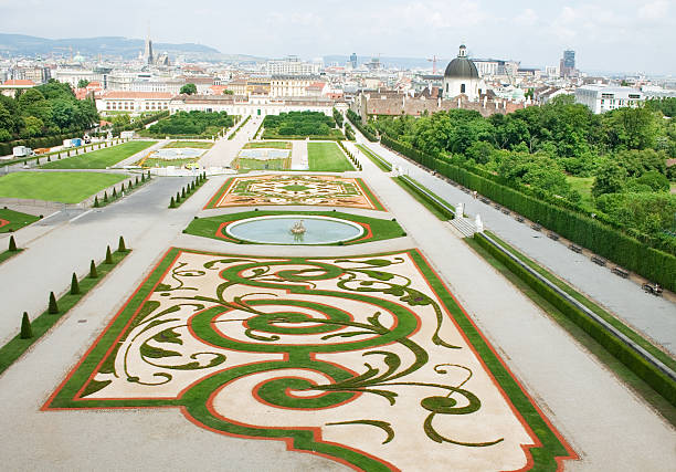 belvedere palace and its beautiful gardens - vienna stock photos and pictures