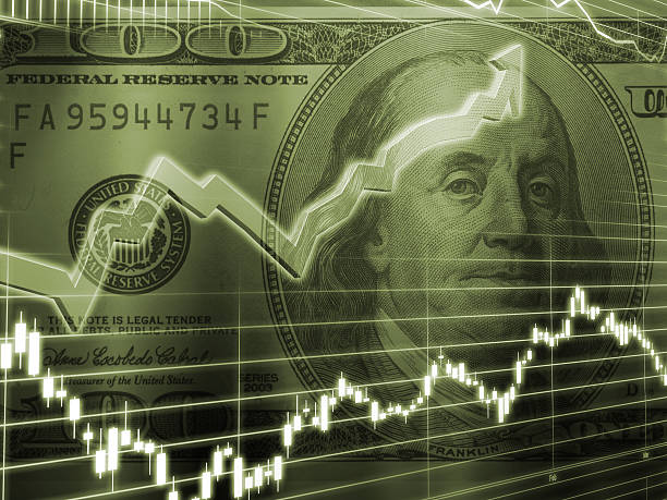 ben franklin 100 dollar bill stock market - interest rate stock photos and pictures