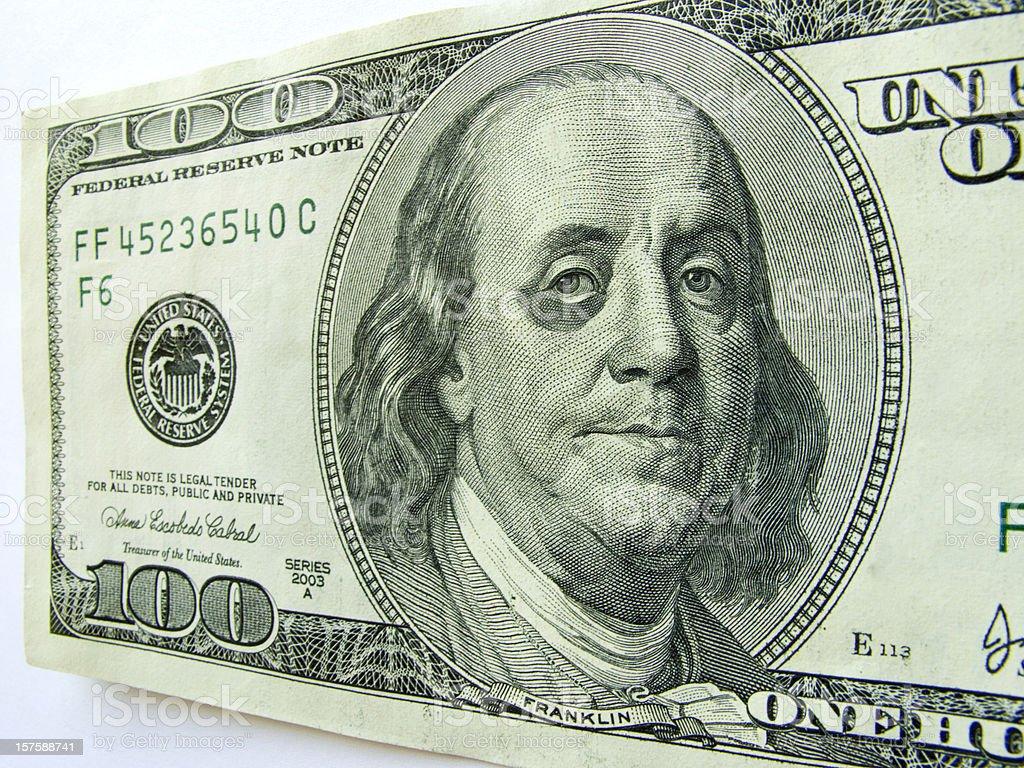 Ben Franklin Black Eye One Hundred Dollar Bill Bad Economy stock photo