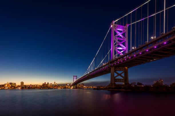 ben franklin bridge - rivière delaware photos et images de collection