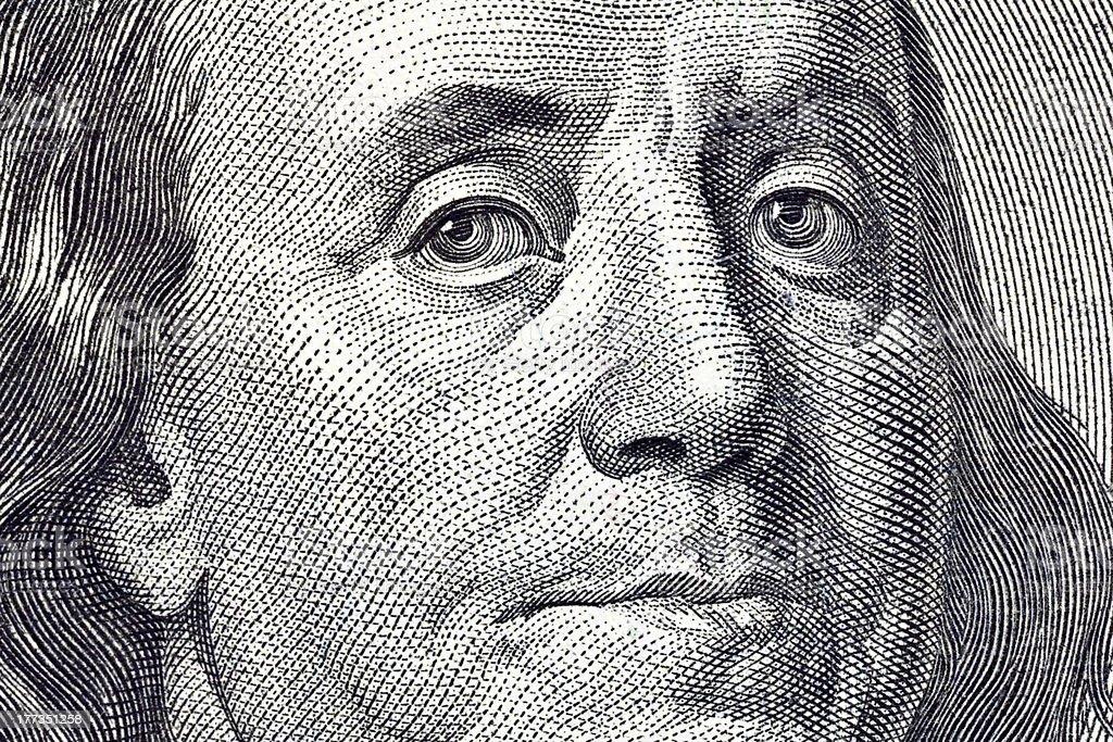 Ben Franklin Macro Close Up $100 Bill stock photo