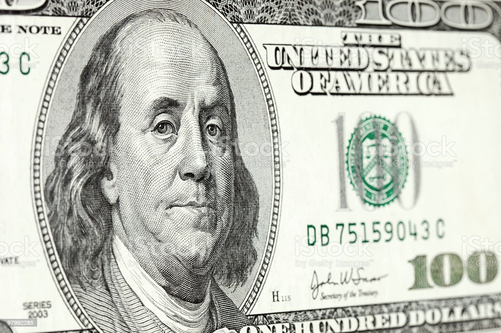 Ben Franklin on hundred-dollar bill royalty-free stock photo