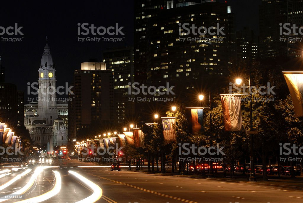 Ben Franklin Parkway at Night royalty-free stock photo