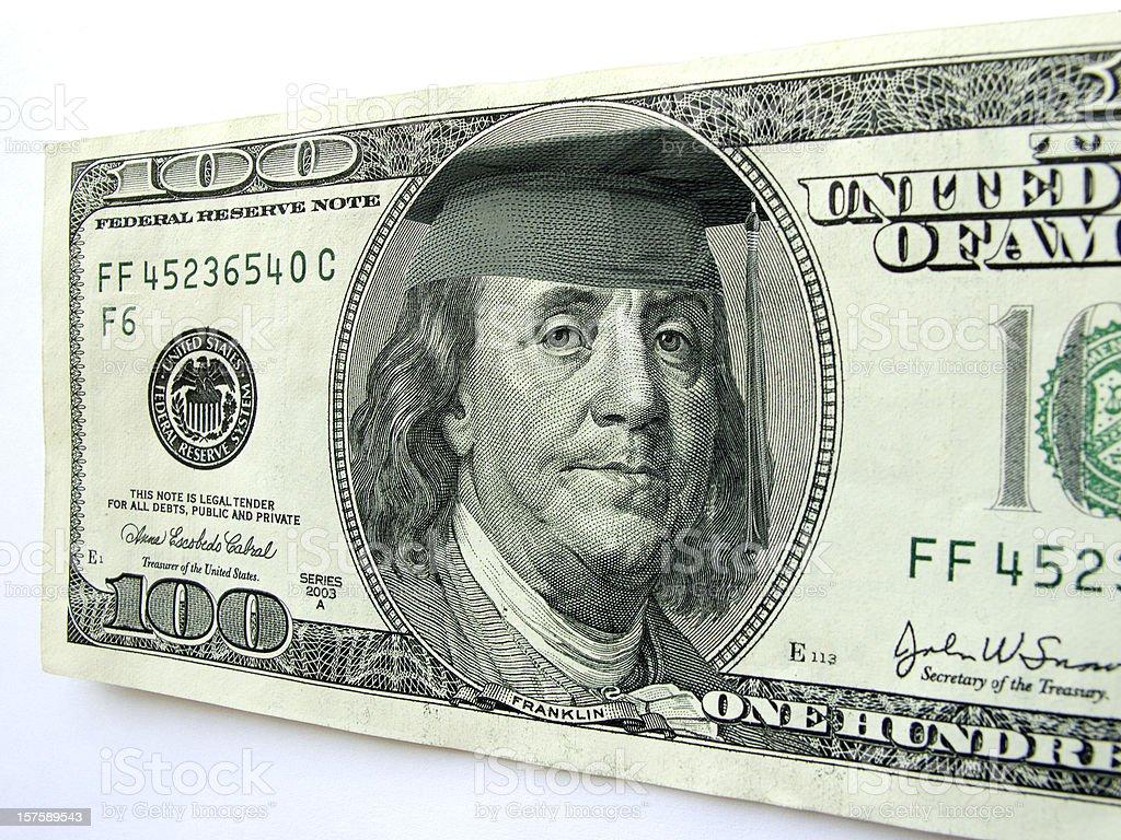Ben Franklin Wearing Graduation Cap on One Hundred Dollar Bill stock photo