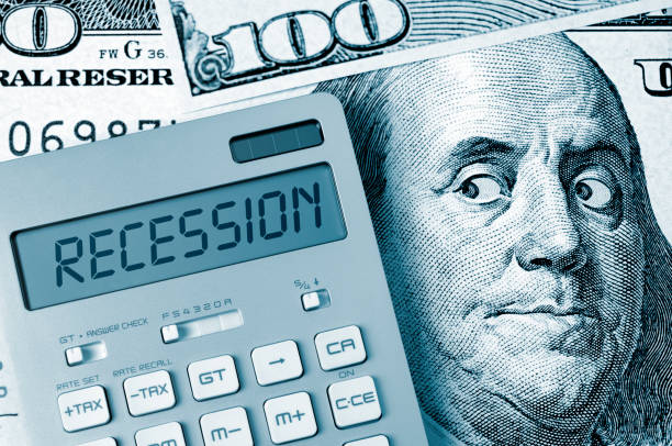 Ben Franklin's fear: Recession stock photo