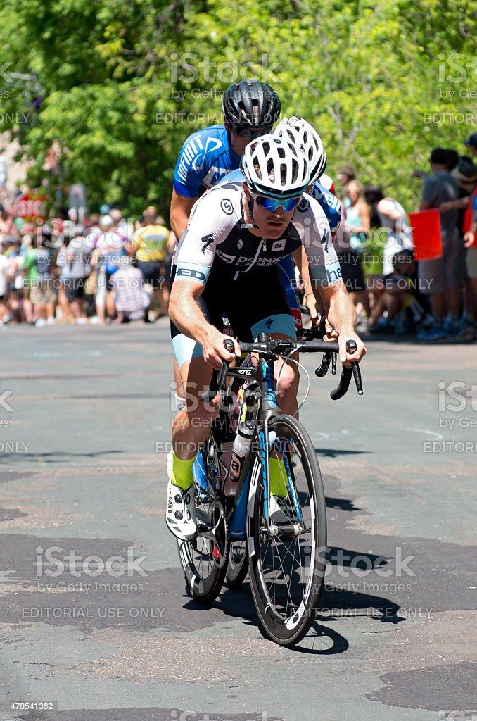 Ben Hill Leads at Stillwater Criterium stock photo