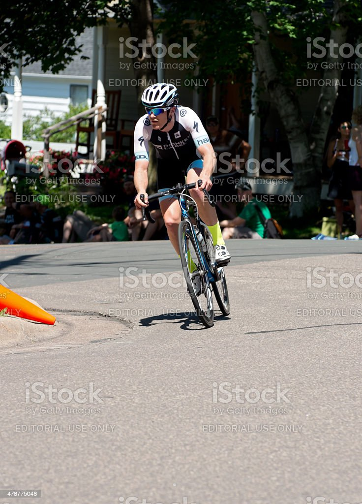 Ben Hill on Course at Stillwater Criterium stock photo