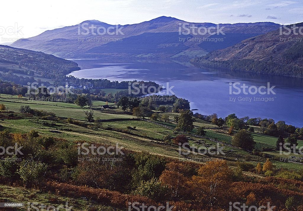 Ben Lawers and Loch Tay near Kenmore stock photo