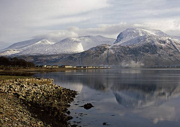 Ben Nevis and Fort William from Corpach stock photo