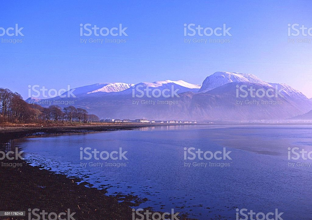Ben Nevis & Fort William from Corpach stock photo