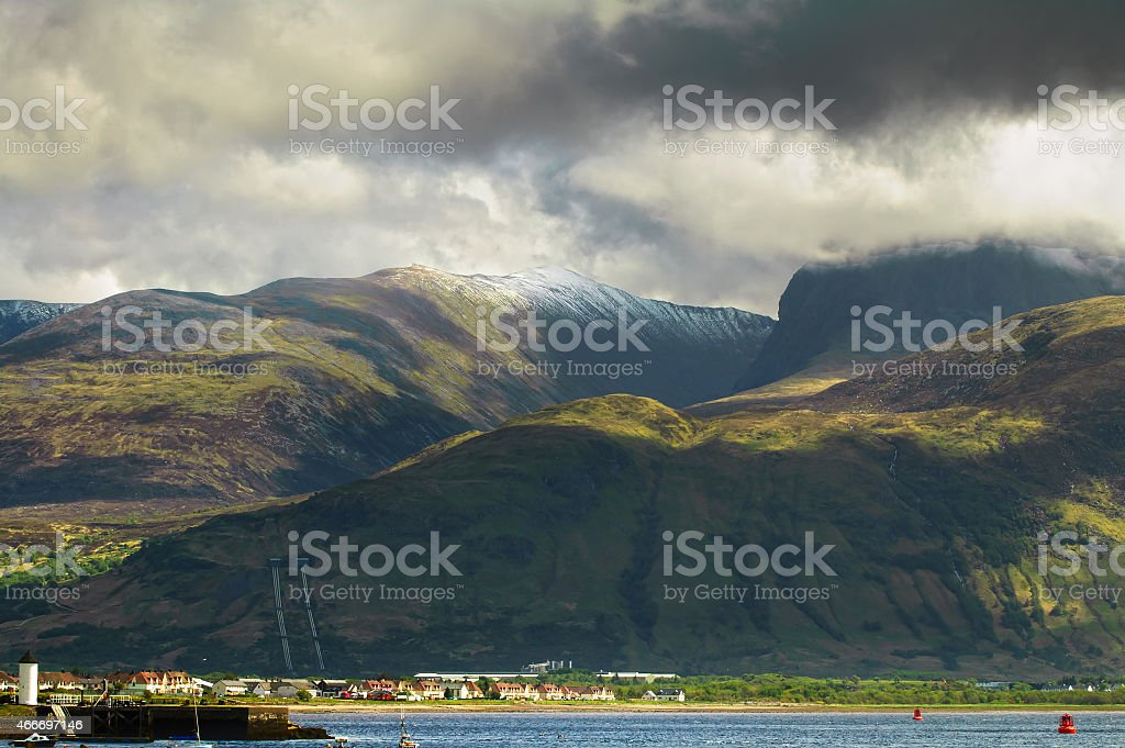 Ben Nevis mountain and Fort William town. Landscape in Highlands stock photo