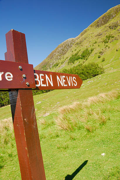 Ben Nevis signpost, Glen Nevis stock photo