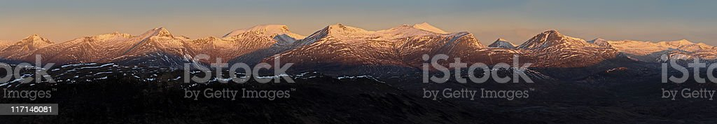 Ben Nevis snow summit sunrise winter mountains Highlands Scotland panorama stock photo