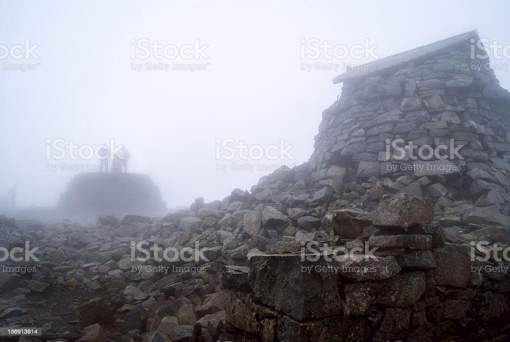 Ben Nevis summit observatory in the mist stock photo