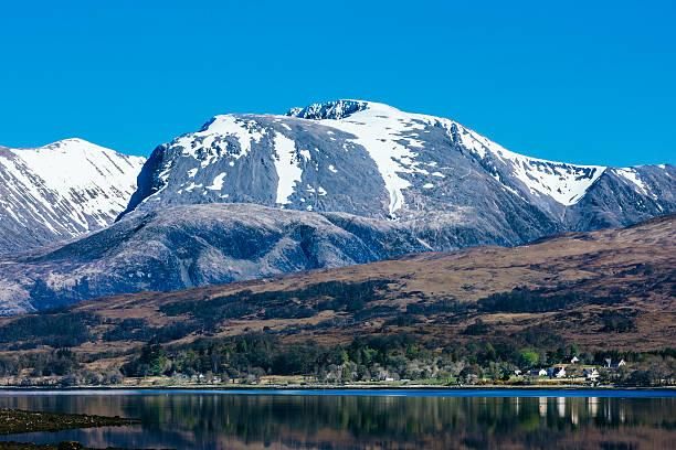 Ben Nevis with snow, landscape, Scotland stock photo