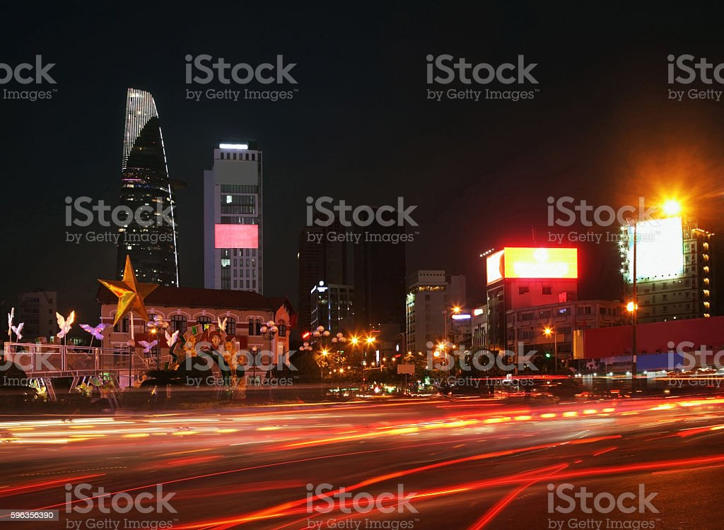 Ben Thanh roundabout in Ho Chi Minh. Vietnam royalty-free stock photo