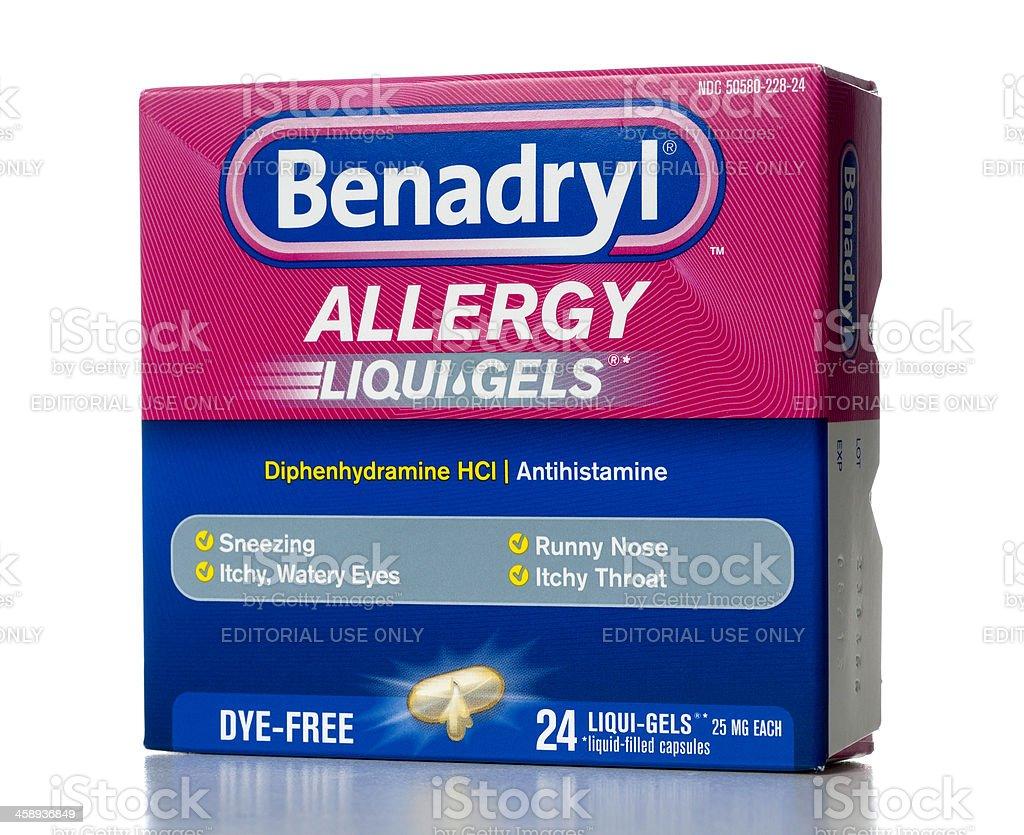 Benadryl geles Liqui-CON TRATAMIENTO HIPOALERGÉNICO - foto de stock