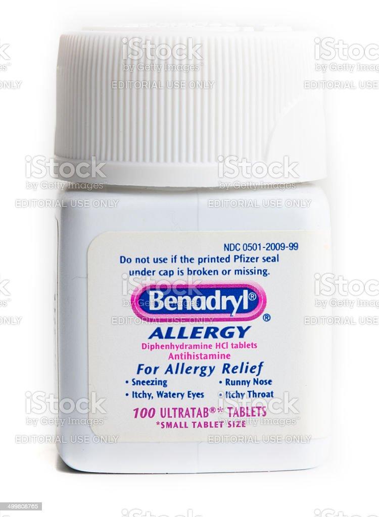 Benadryl medicamento para la alergia - foto de stock