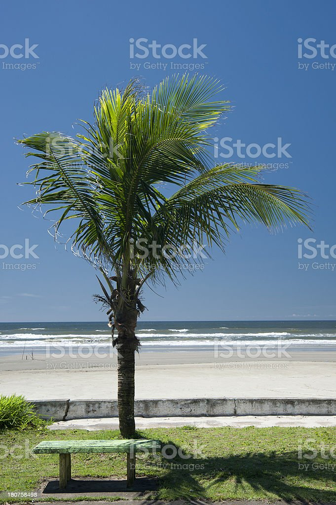Bench and beach royalty-free stock photo