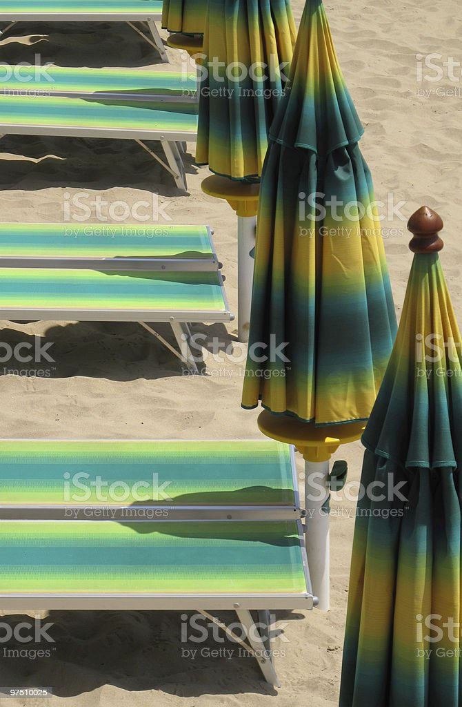bench and parasol royalty-free stock photo