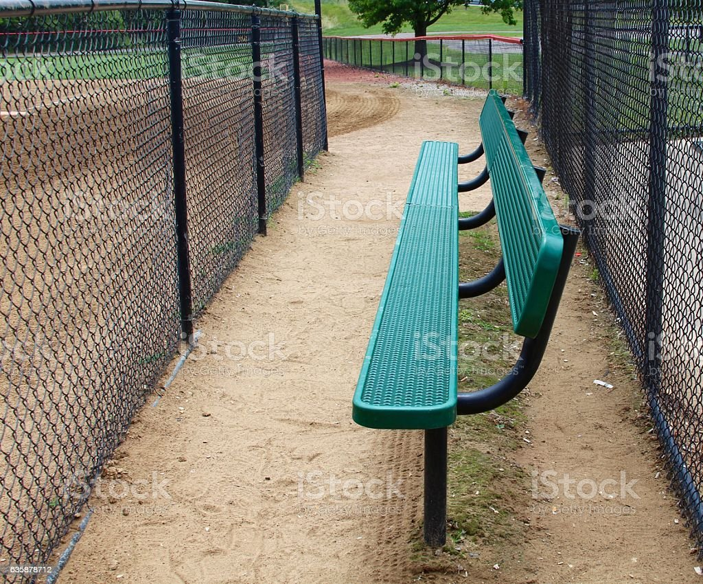 Bench Area in Dugout stock photo