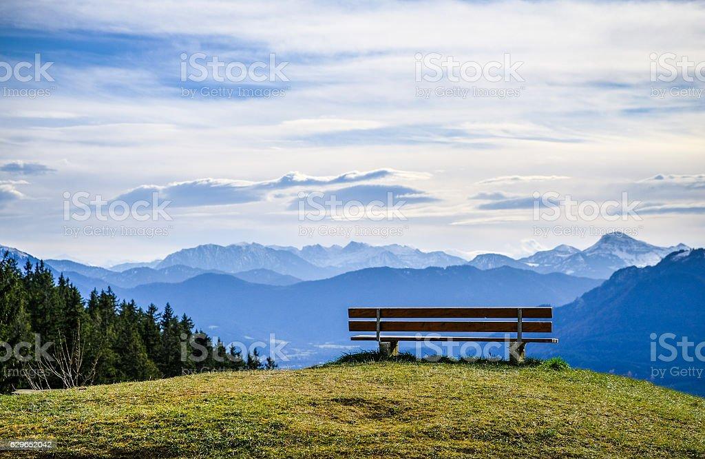 bench at a mountain stock photo