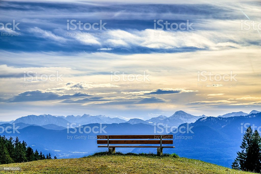 bench at a mountain – Foto
