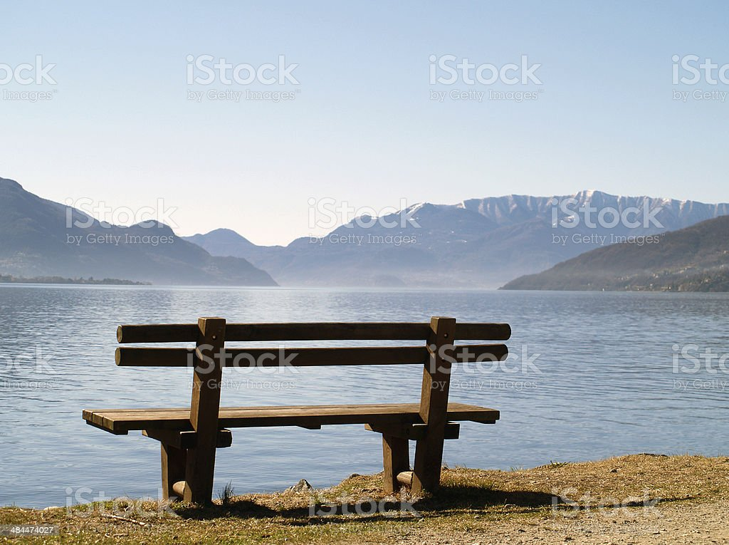 bench at lake stock photo