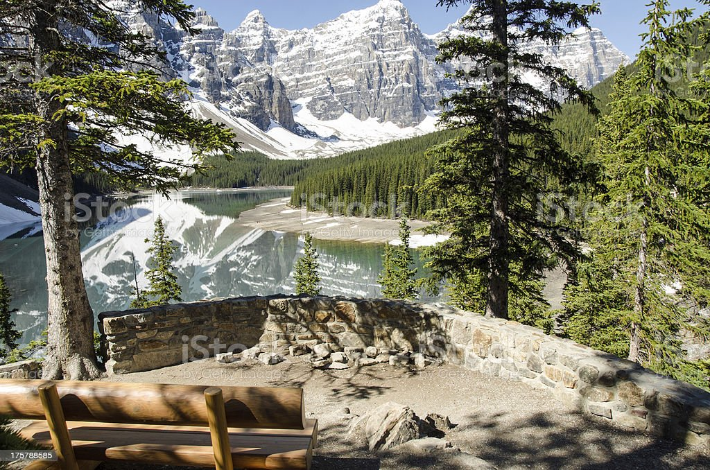 Bench at Moraine Lake royalty-free stock photo