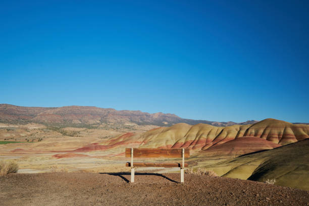 Bench at Painted Hills stock photo