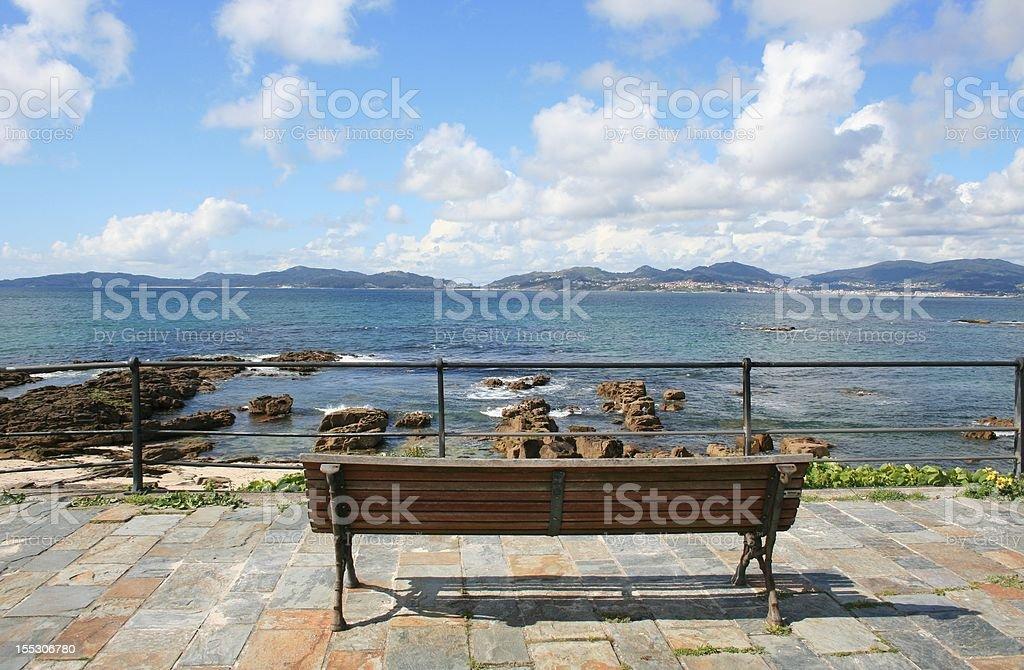 bench at the sea royalty-free stock photo